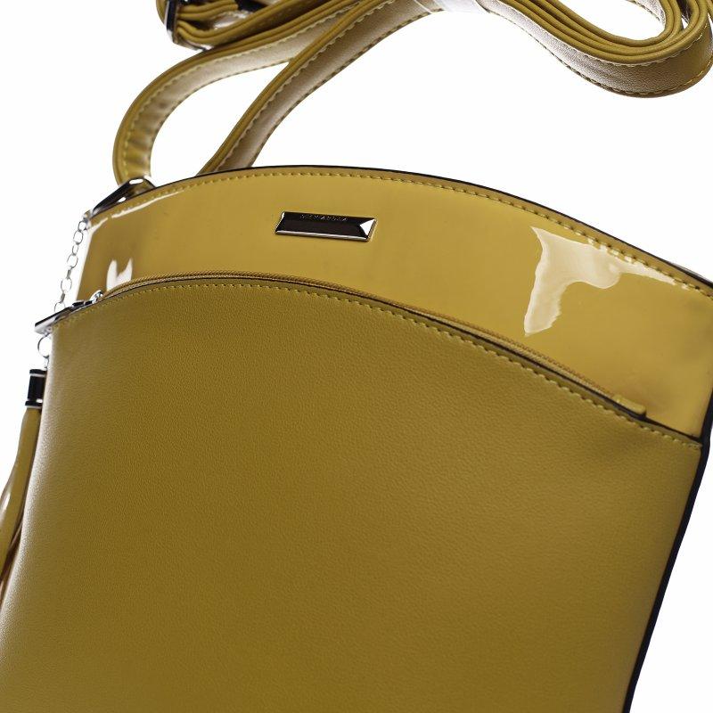 Elegantní dámská koženková crossbody kabelka Elegancen, žlutá