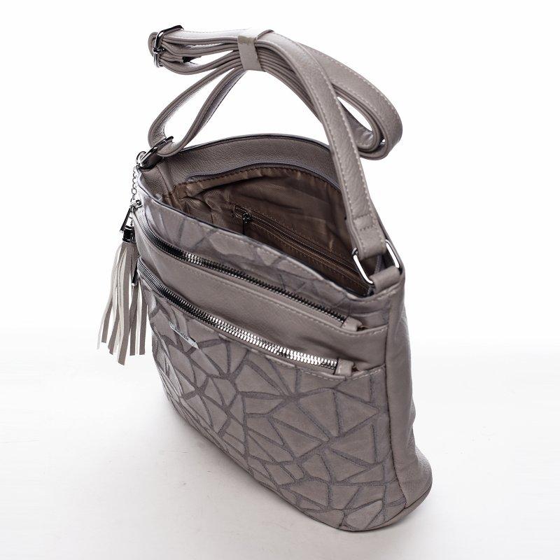 Pracovní koženková dámská kabelka Happy life, šedá