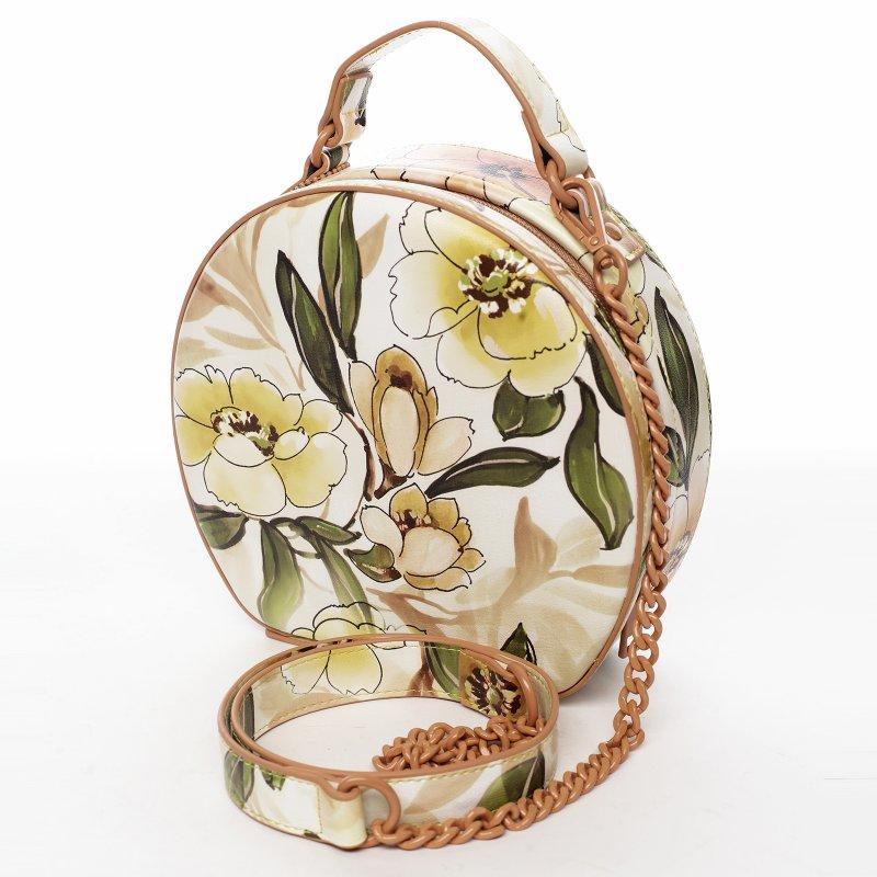 Romantická květovaná dámská koženková kabelka Rozálie, peach