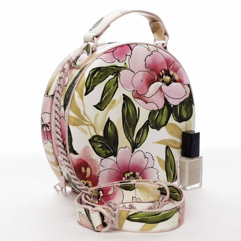 Romantická květovaná dámská koženková kabelka Rozálie, růžová