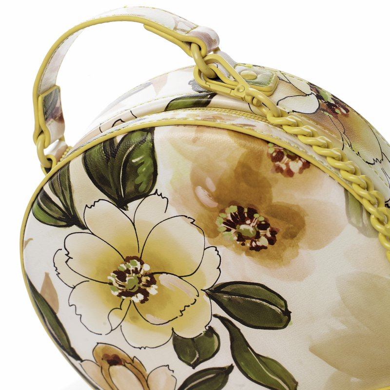 Romantická květovaná dámská koženková kabelka Rozálie, žlutá