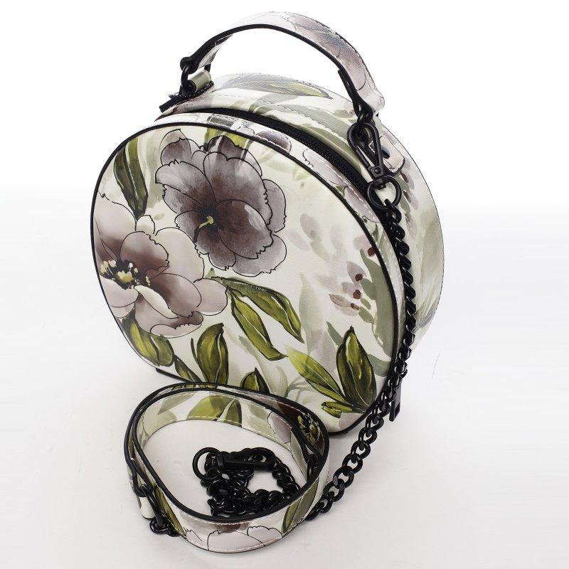 Romantická květovaná dámská koženková kabelka Rozálie, černá