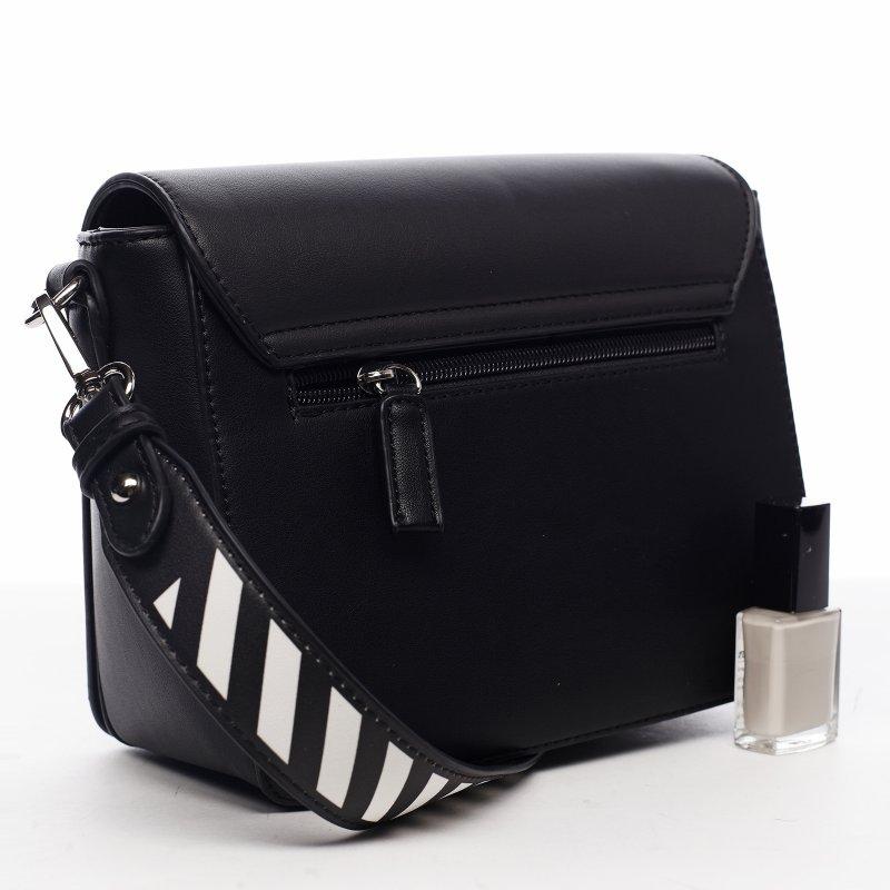 Designová dámská crossbody koženková kabelka Lucky stripes, černá