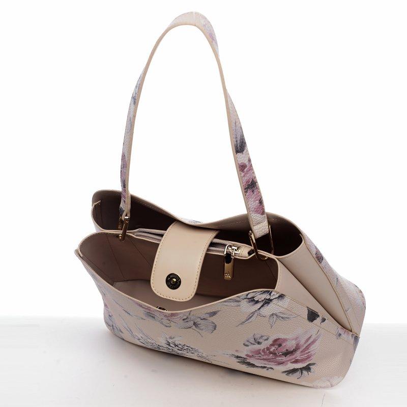 Romantická květovaná dámská koženková kabelka Flower bright, béžová