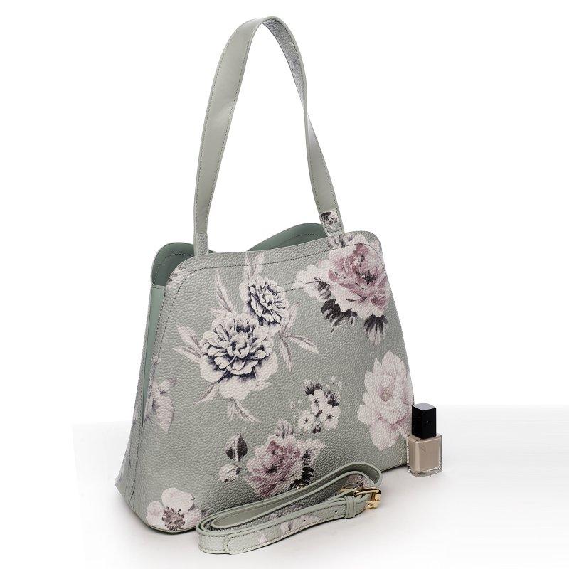 Romantická květovaná dámská koženková kabelka Flower bright, zelená