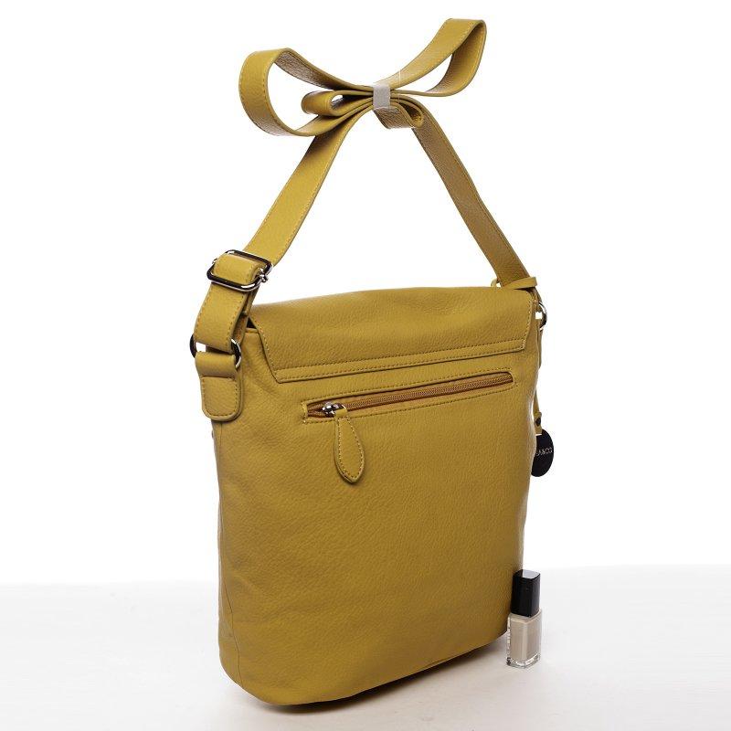 Moderní dámská koženková crossbody kabelka Sunny day, žlutá