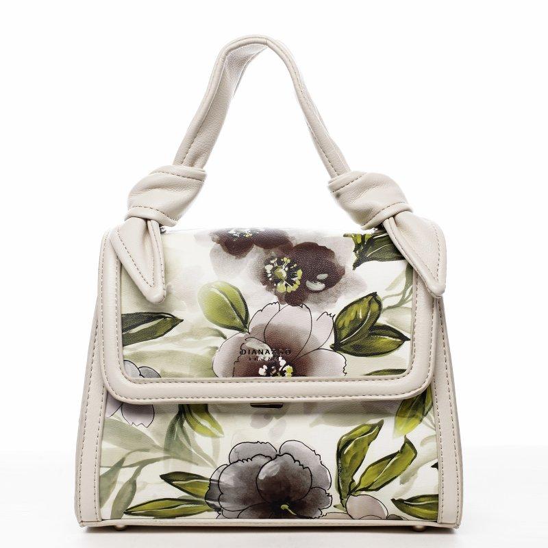 Romantická květovaná koženková dámská kabelka Diana, béžová
