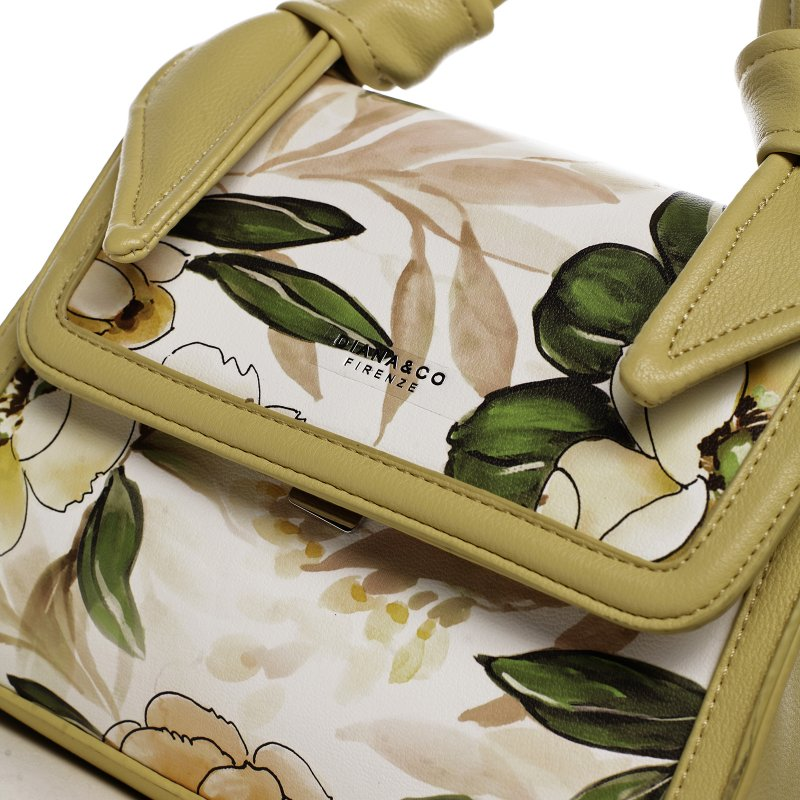 Romantická květovaná koženková dámská kabelka Diana, žlutá