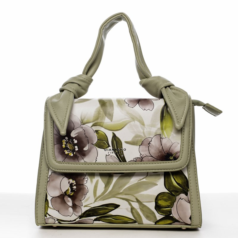 Romantická květovaná koženková dámská kabelka Diana, zelená