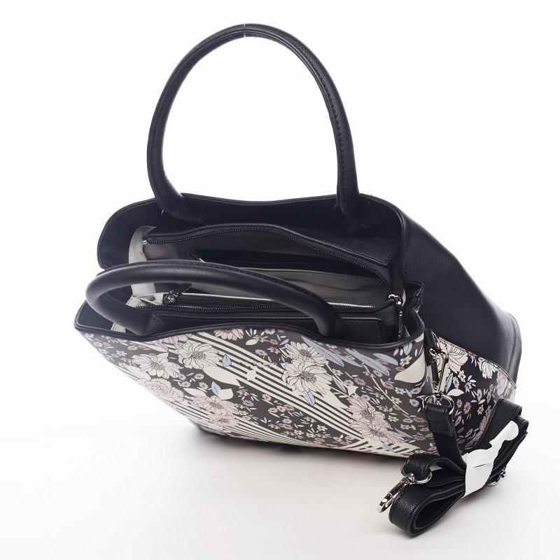 Romantická květovaná dámská koženková kabelka Flower life, černá