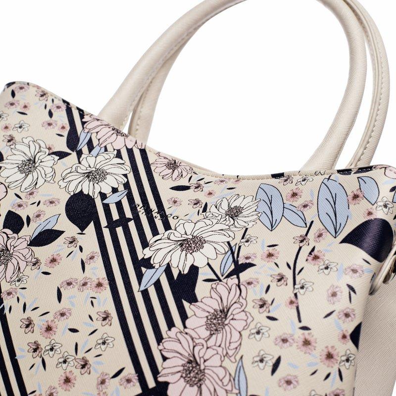 Romantická květovaná dámská koženková kabelka Flower life, béžová