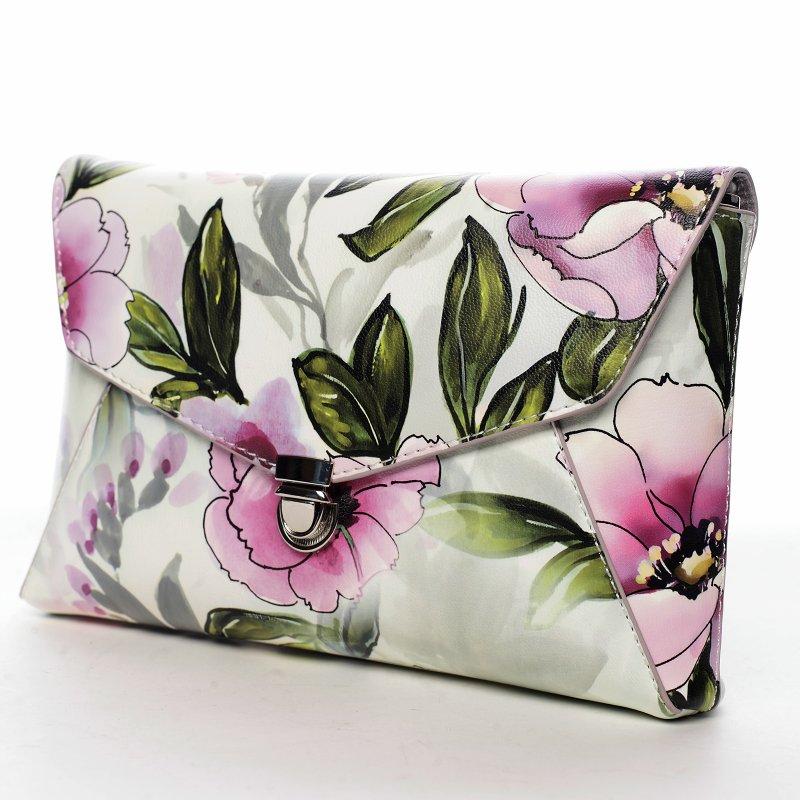 Dámské květované koženkové psaníčko Romantic, lila