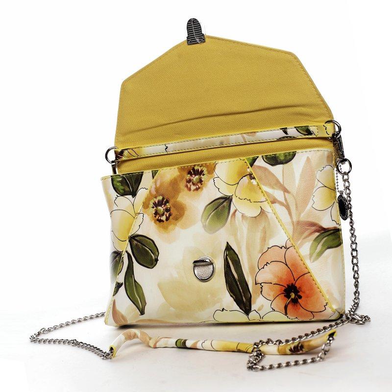 Dámské květované koženkové psaníčko Romantic, žluté