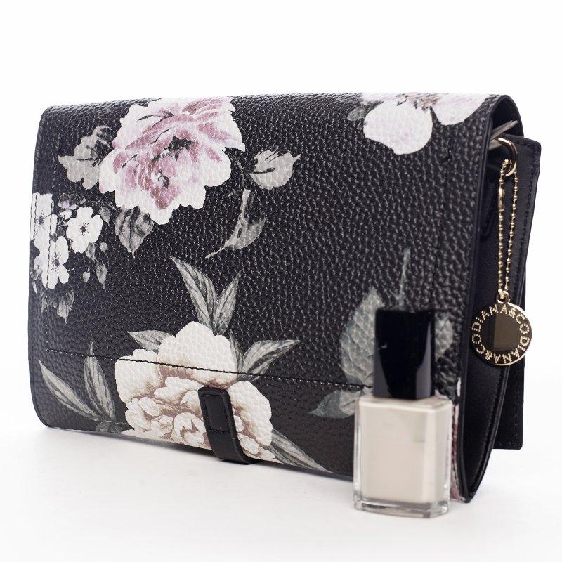 Romantická květovaná dámská koženková kabelka Flower mood, černá