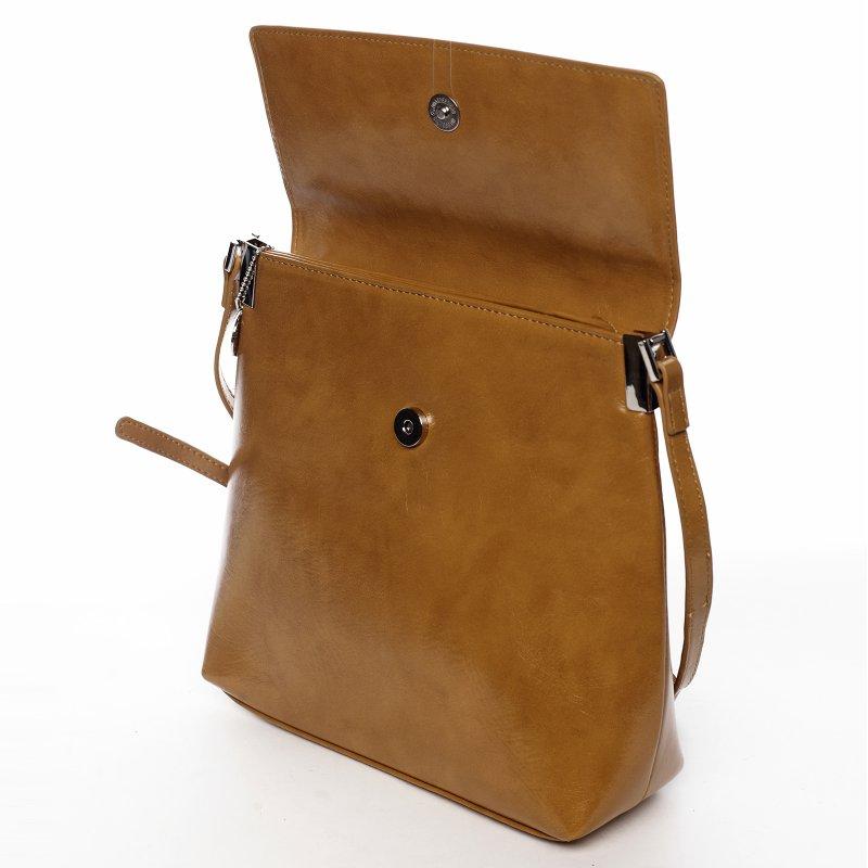 Moderní dámská koženková crossbody kabelka Simonah, hnědá
