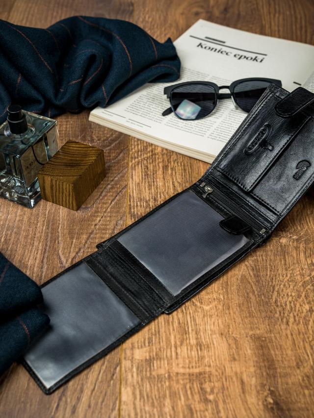 Moderní pánská kožená peněženka Billy Joe, černá
