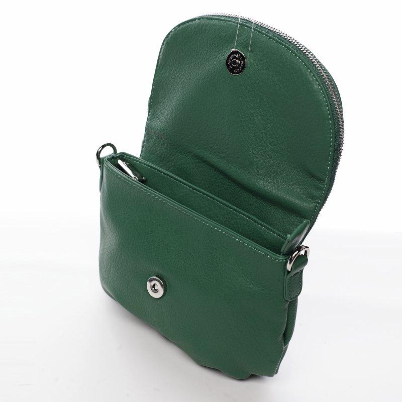 Menší moderní koženková kabelka Mia Si, zelená