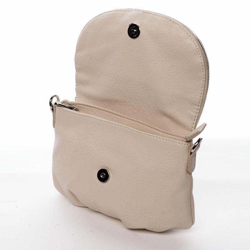 Menší moderní koženková kabelka Mia Si, béžová