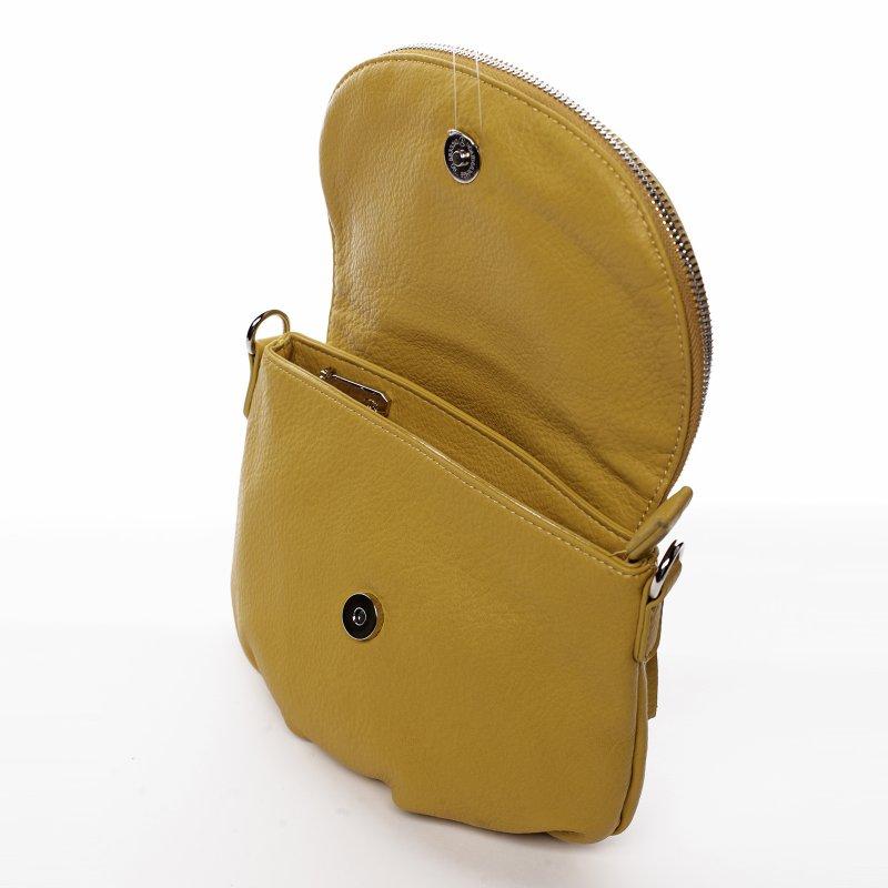 Menší moderní koženková kabelka Mia Si, žlutá