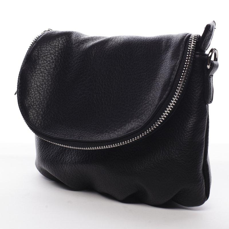 Menší moderní koženková kabelka Mia Si, černá