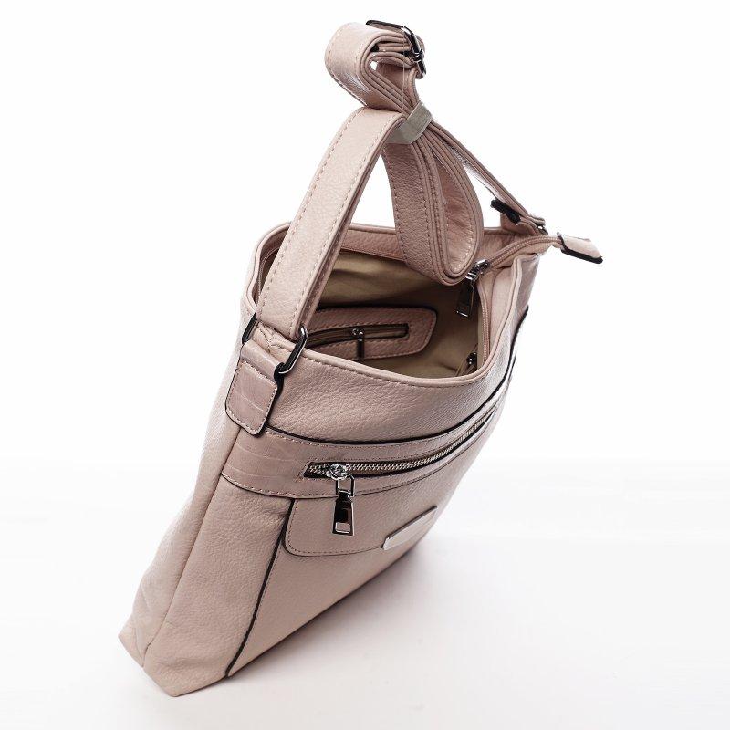 Praktická dámská koženková crossbody kabelka Stylish Ann, růžová