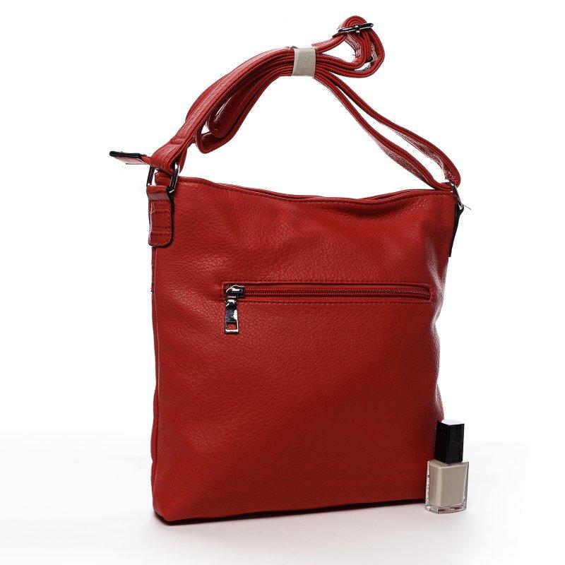 Praktická dámská koženková crossbody kabelka Stylish Ann, červená