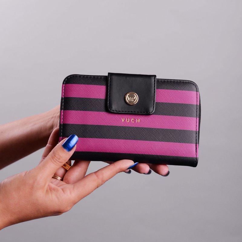 Menší designová dámská peněženka VUCH Ruth, černo fialová