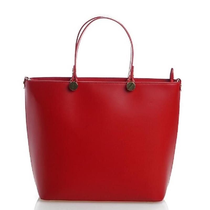 Červená luxusní kožená velká kabelka Azra