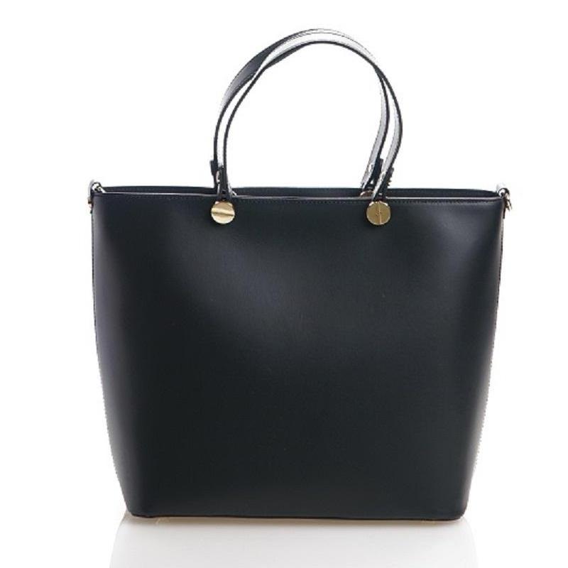 Černá luxusní kožená velká kabelka Azra