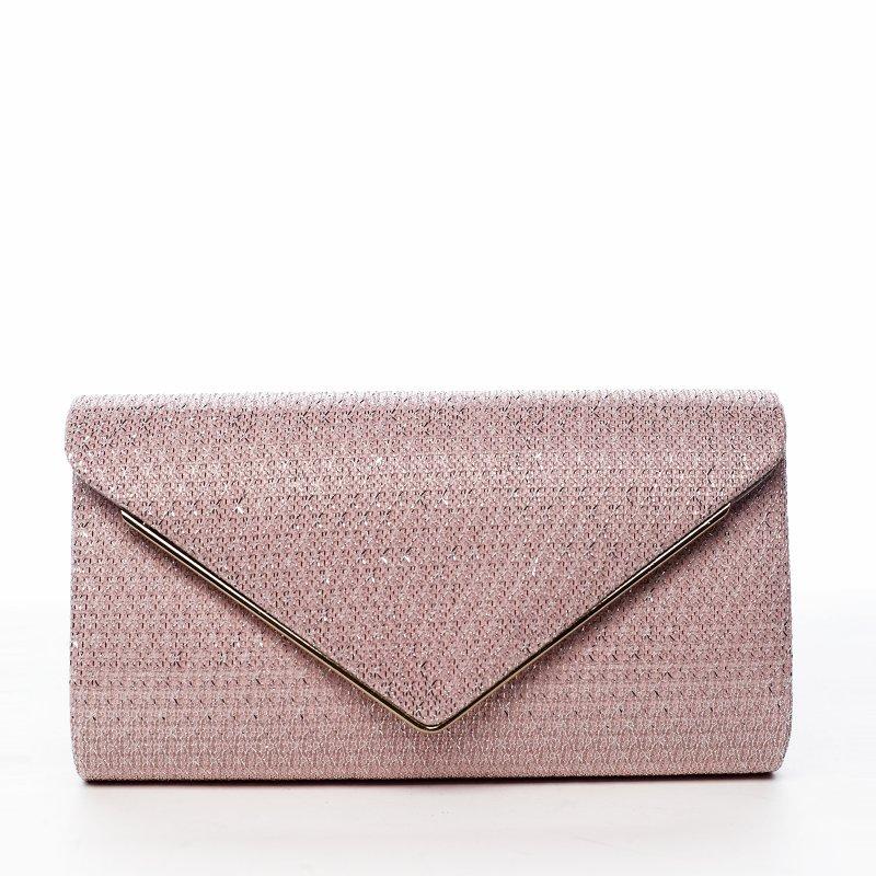 Elegantní společenská kabelka Rosa shiny, růžová