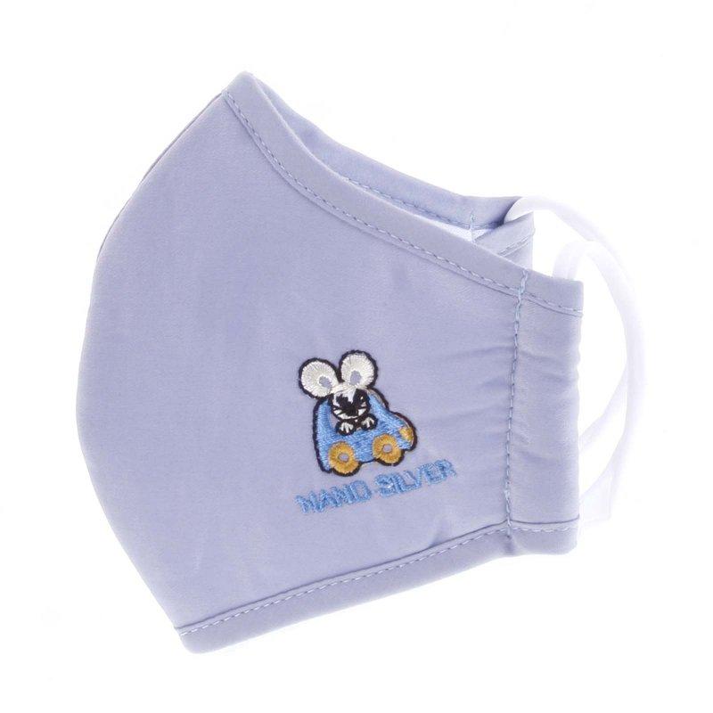 Dětská antibakteriální rouška vel. S, světle modrá s autíčkem
