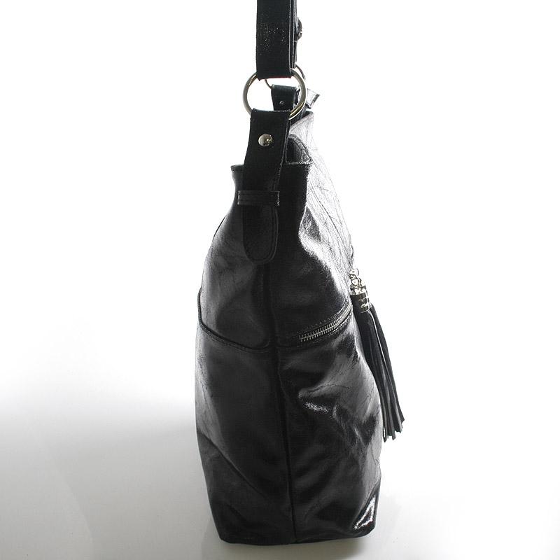 Luxusní kožená kabelka přes rameno Delia černá