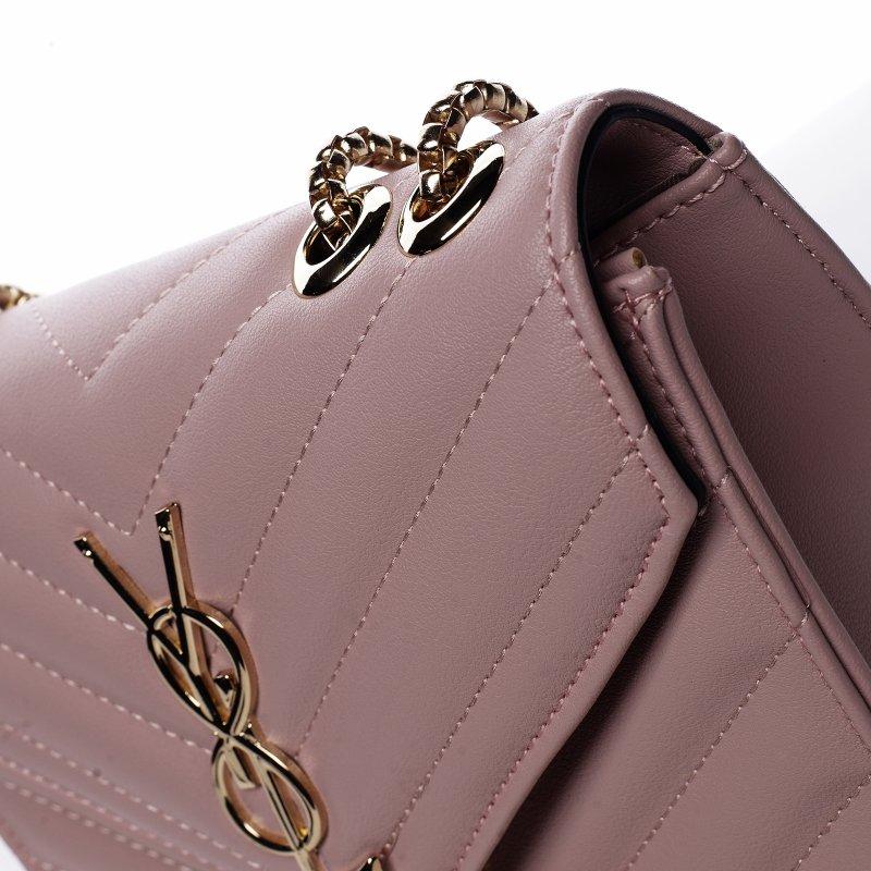 Trendová menší koženková kabelka Y&L, růžová