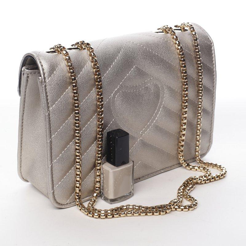 Trendová menší koženková kabelka Y&L, stříbrná
