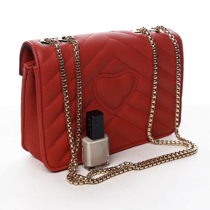 Trendová menší koženková kabelka Y&L, červená