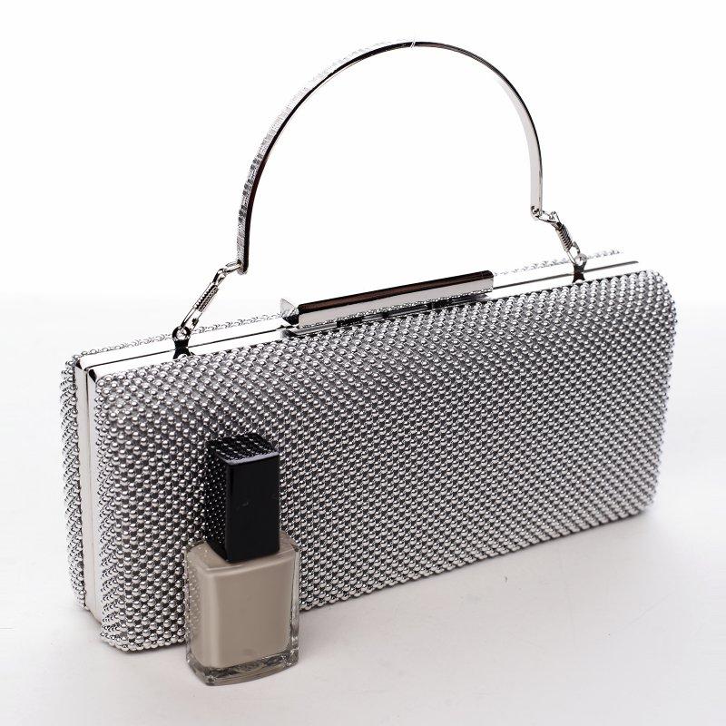 Luxusní dámská společenská kabelka Lejla, stříbrná