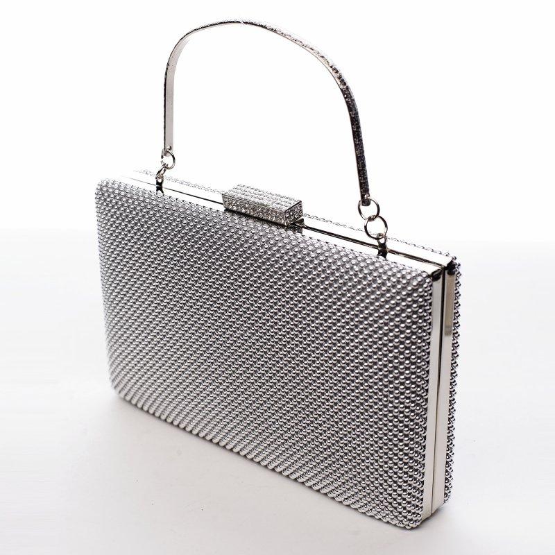 Elegantní dámská společenská kabelka Isabelas diamond, stříbrná