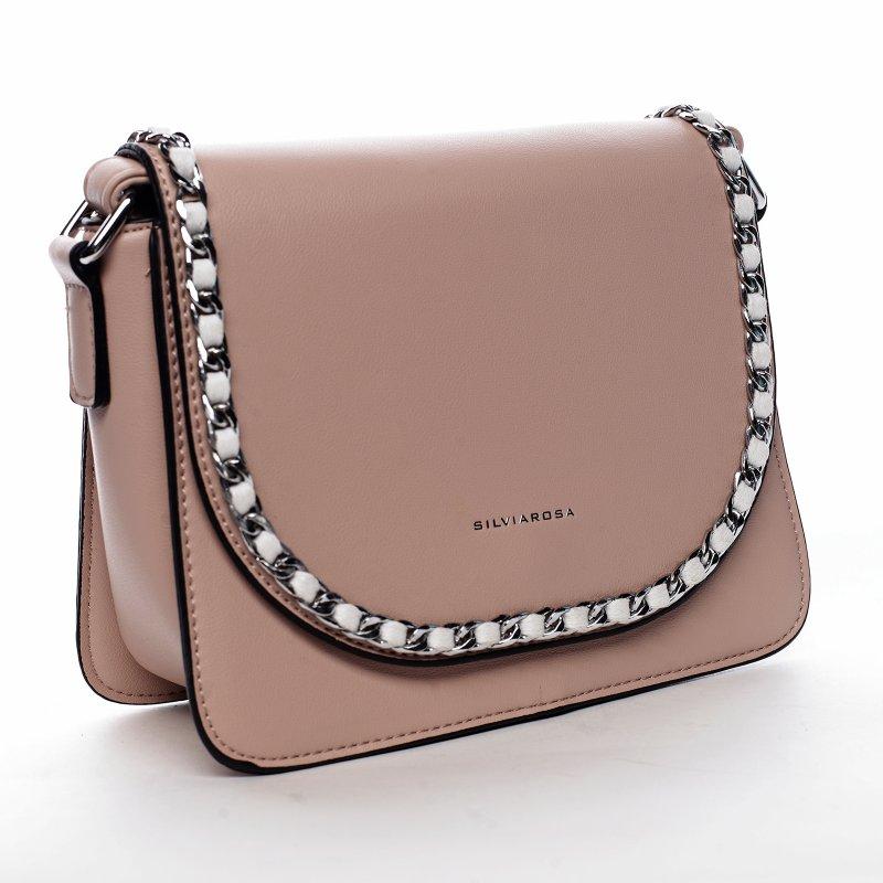 Moderní dámská koženková kabelka Colorful Sky, růžová
