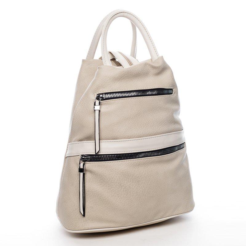 Praktický dámský koženkový kabelko batoh Travel joy, krémový