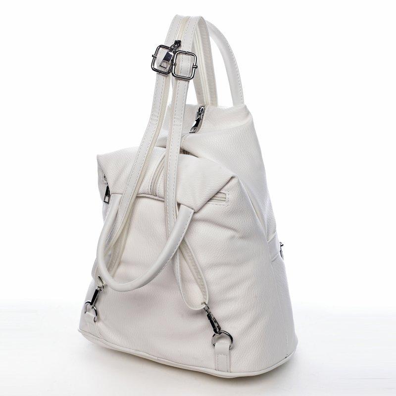 Praktický dámský koženkový kabelko batoh Travel joy, bílý