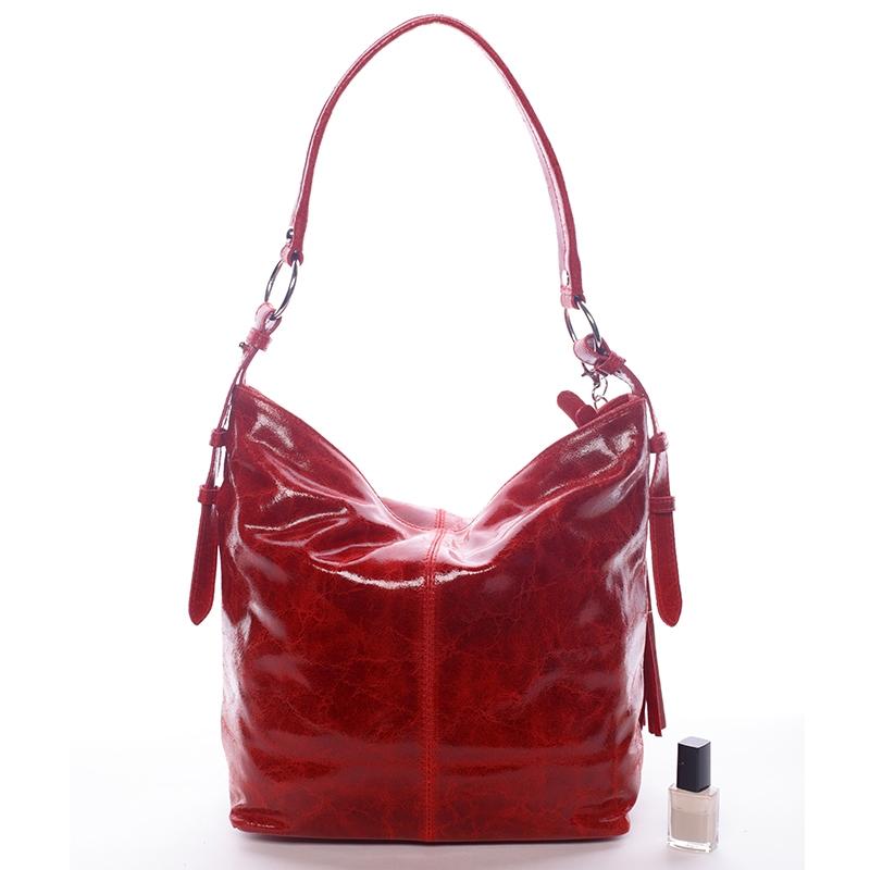 6808cc5b8a Dámská luxusní kožená kabelka přes rameno Belleza červená