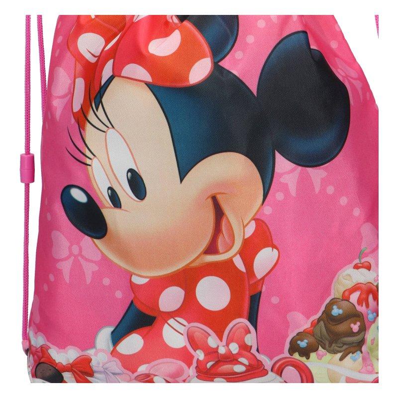 Sáček na přezůvky, tělocvik Minnie Mouse, červeno růžový