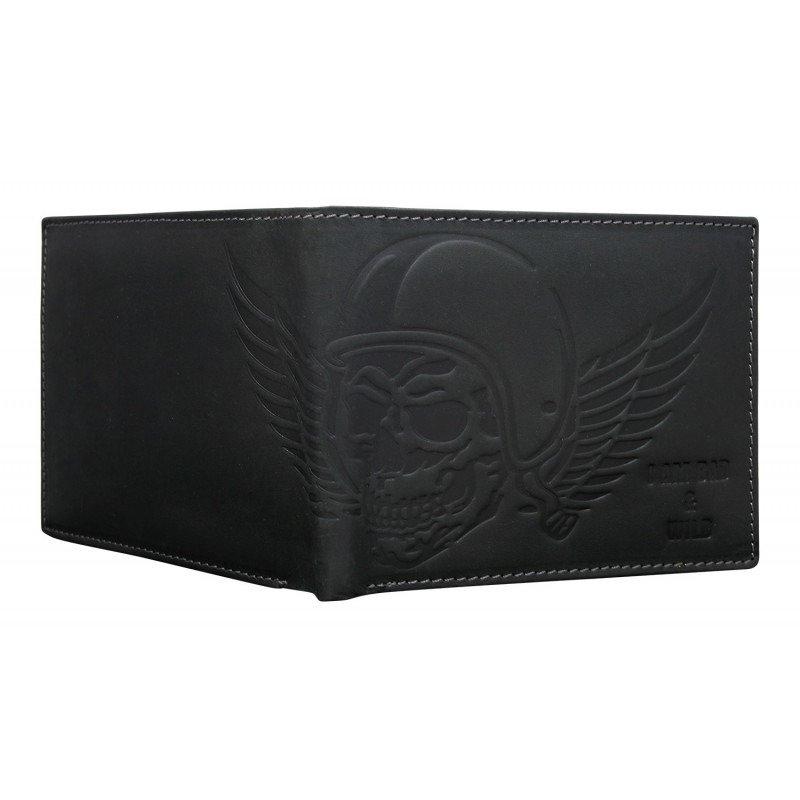 Moderní pánská kožená peněženka Rebel, černá