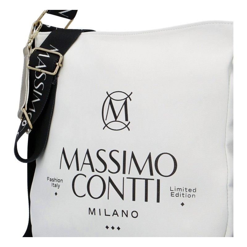 Dámská koženková moderní kabelka Mass.Con Milano, bílá