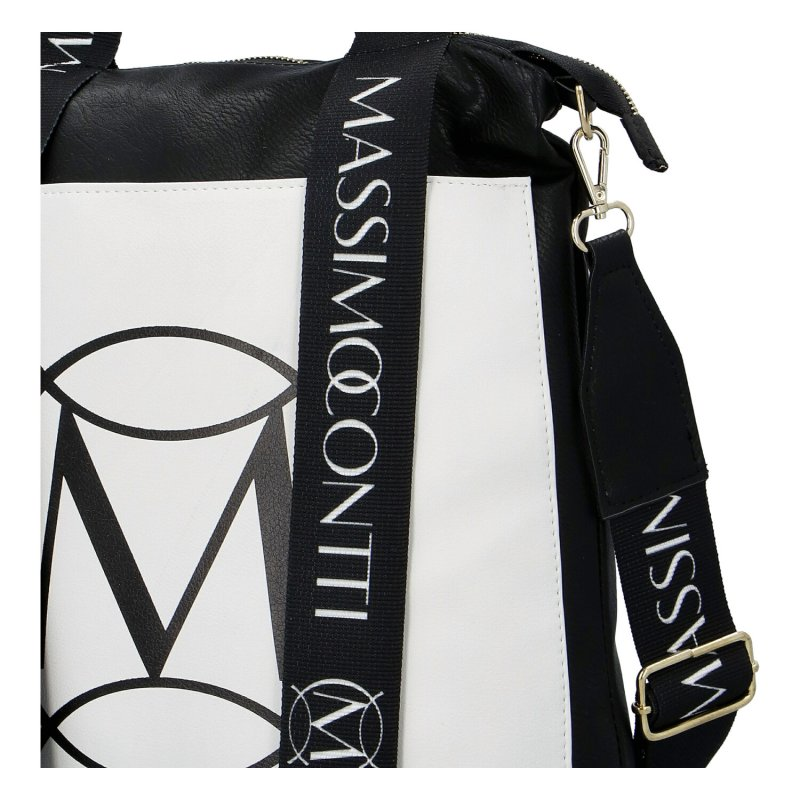 Trendová dámská koženková kabelka Massimo black and white