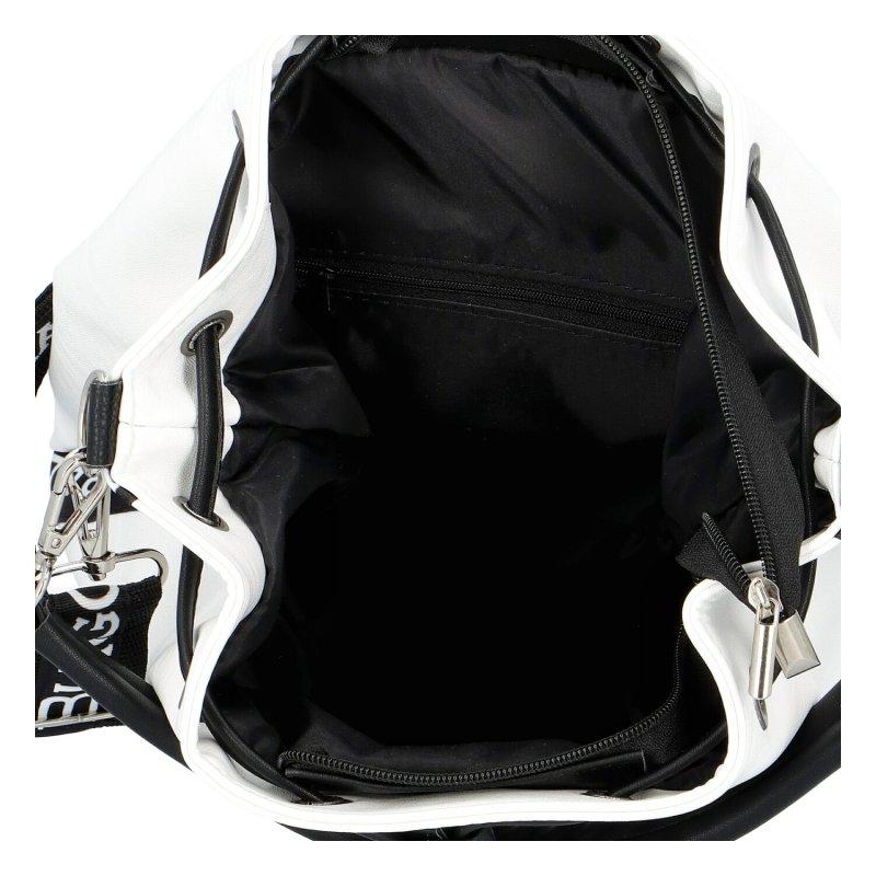 Designová dámská kabelka pytel L.B., bílá