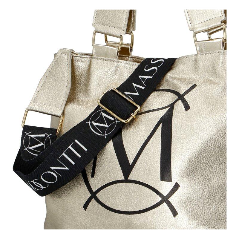 Dámská koženková moderní kabelka Mass.Con Mil., zlatá