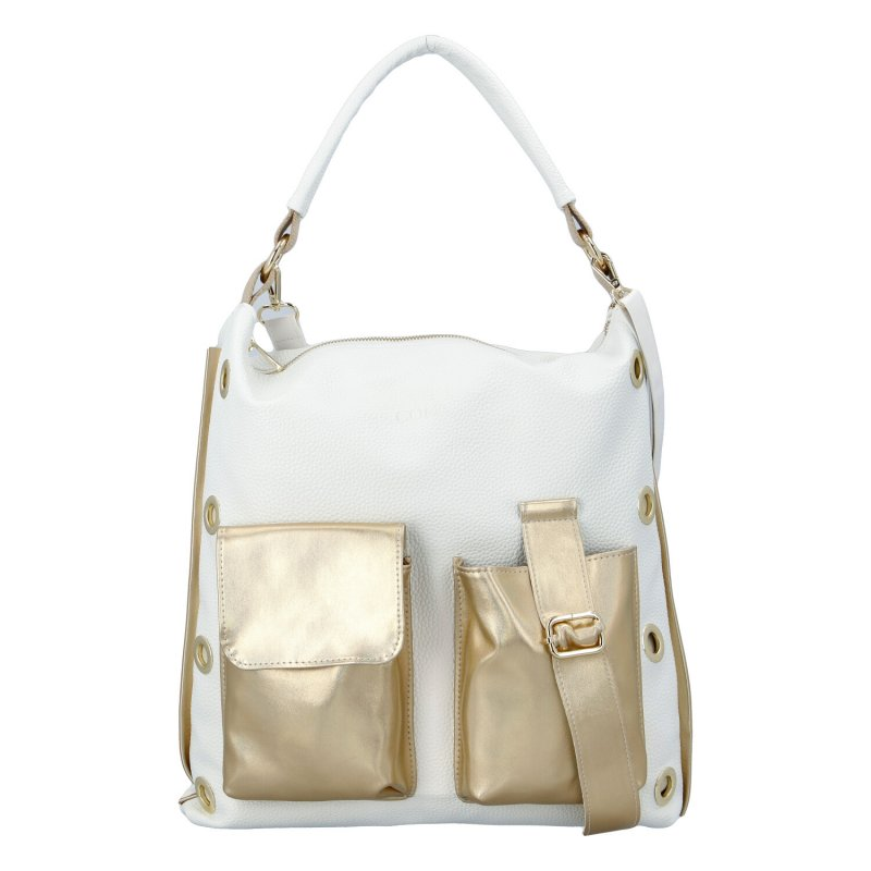 Dámská trendová koženková kabelka Golden Star, bílá