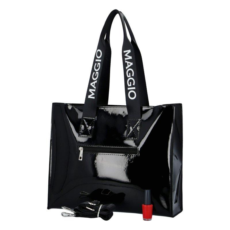 Trendová koženková dámská kabelka Maggio black and white, černá