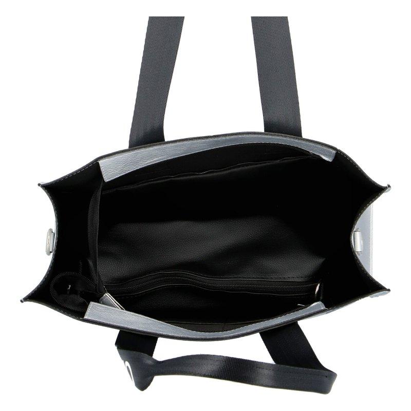 Trendová koženková dámská kabelka Maggio silver, stříbrná